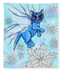 Winter Snowflake Fairy Cat Fleece Blanket