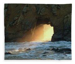 Winter Solstice Sunset In Big Sur Fleece Blanket