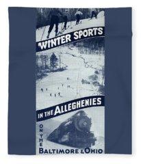 Winter Sports In The Alleghenies Fleece Blanket