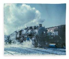 Winter Steam Train Fleece Blanket