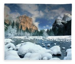 Winter Storm In Yosemite National Park Fleece Blanket
