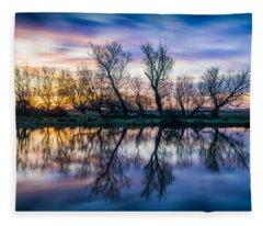 Winter Sunrise Over The Ouse Fleece Blanket