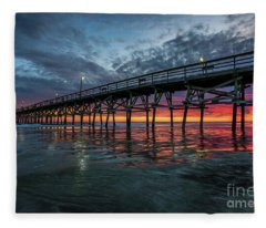 Winter Sunset 02 2017 Fleece Blanket