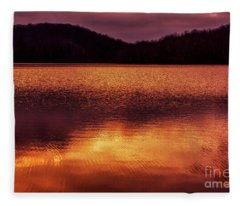 Winter Sunset Afterglow Reflection Fleece Blanket