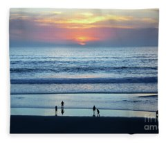 Winter Sunset At Carmel Beach Fleece Blanket