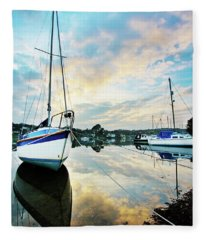 Winter Sunset At Mylor Bridge Fleece Blanket