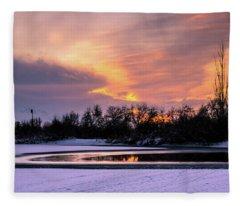 Winter Sunset Fleece Blanket