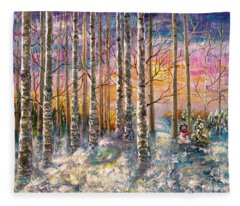 Dylan's Snowman - Winter Sunset Landscape Impressionistic Painting With Palette Knife Fleece Blanket