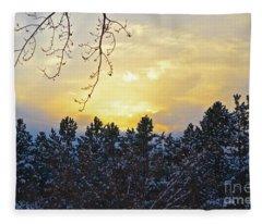 Winter Sunset On The Tree Farm #1 Fleece Blanket