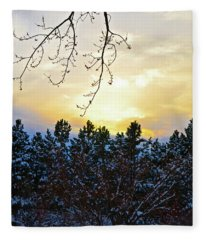 Winter Sunset On The Tree Farm #2 Fleece Blanket