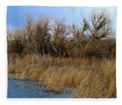 Winter Trees Along The Snake Fleece Blanket
