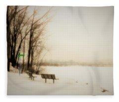 Winter View Over Montreal Fleece Blanket