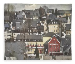 Winter Village With Red House Fleece Blanket