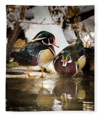 Winter Visitors - Wood Ducks Fleece Blanket