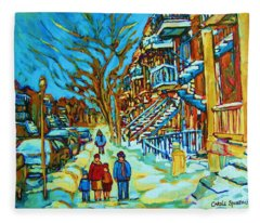 Winter  Walk In The City Fleece Blanket