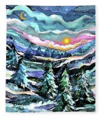 Winter Woods At Dusk Fleece Blanket