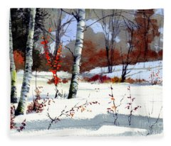 Wintertime Painting Fleece Blanket