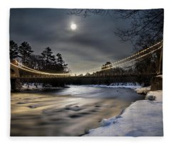 Wire Bridge Under A Full Moon Fleece Blanket