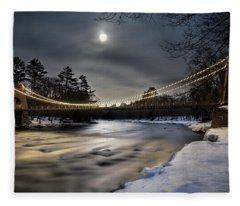 Wire Bridge Under A Full Moon Fleece Blanket