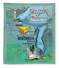 Wisconsin Fun Map Fleece Blanket