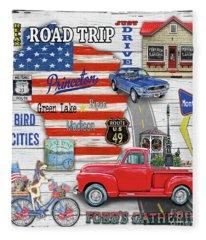 Wisconsin Road Trip Sign-square Fleece Blanket