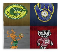 Wisconsin Sports Collage With Badgers Brewers Bucks License Plate Art V2 Fleece Blanket