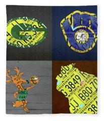 Wisconsin Sports Team License Plate Art Milwaukee Green Bay Plus Map Brewers Bucks Packers Fleece Blanket