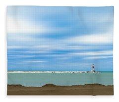 Wisconsin Winter Lakefront Fleece Blanket