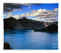 Wizard Island Stormy Sky- Crater Lake Fleece Blanket