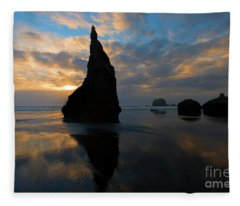 Wizards Hat Sunset Fleece Blanket