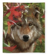 Wolf - Autumn Encounter Fleece Blanket