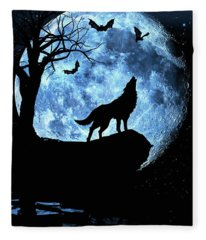 Wolf Howling At Full Moon With Bats Fleece Blanket
