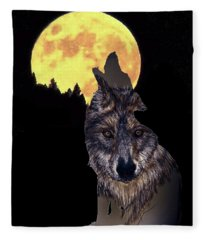Wolf Howling At The Moon Fleece Blanket