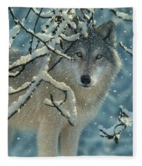 Wolf In Snow - Broken Silence Fleece Blanket