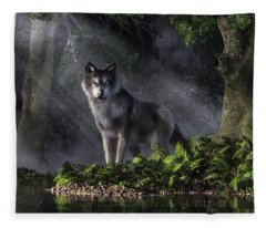 Wolf In The Forest Fleece Blanket