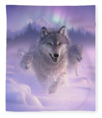 Wolf Pack Running - Northern Lights Fleece Blanket