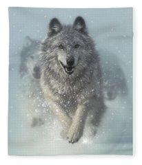 Wolf Pack Running - Snow Plow Fleece Blanket