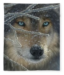 Wolf Portrait - Fire In Ice Fleece Blanket