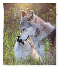 Wolf Soul Mates Fleece Blanket