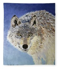 Wolf Study Fleece Blanket