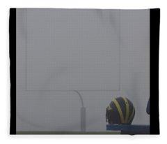 Wolverine Helmet In Heavy Morning Fog Fleece Blanket
