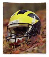 Wolverine Helmet In October Leaves Fleece Blanket