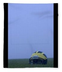Wolverine Helmet On The Field In Heavy Fog Fleece Blanket
