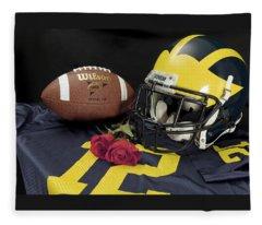 Wolverine Helmet With Roses, Jersey, And Football Fleece Blanket