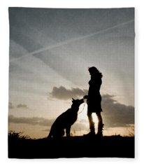 Woman And Dog  Fleece Blanket