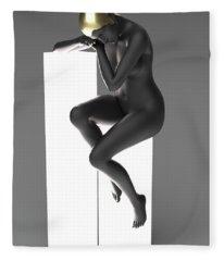 Woman Art Deco Lamp Fleece Blanket