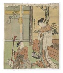 Woman At Water Basin, Utagawa Kuniyoshi, 1832 Fleece Blanket