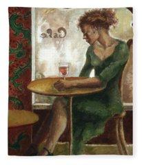 Woman In A Paris Cafe Fleece Blanket