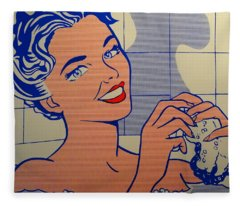 Woman In Bath Fleece Blanket