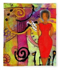 Woman In Red Fleece Blanket